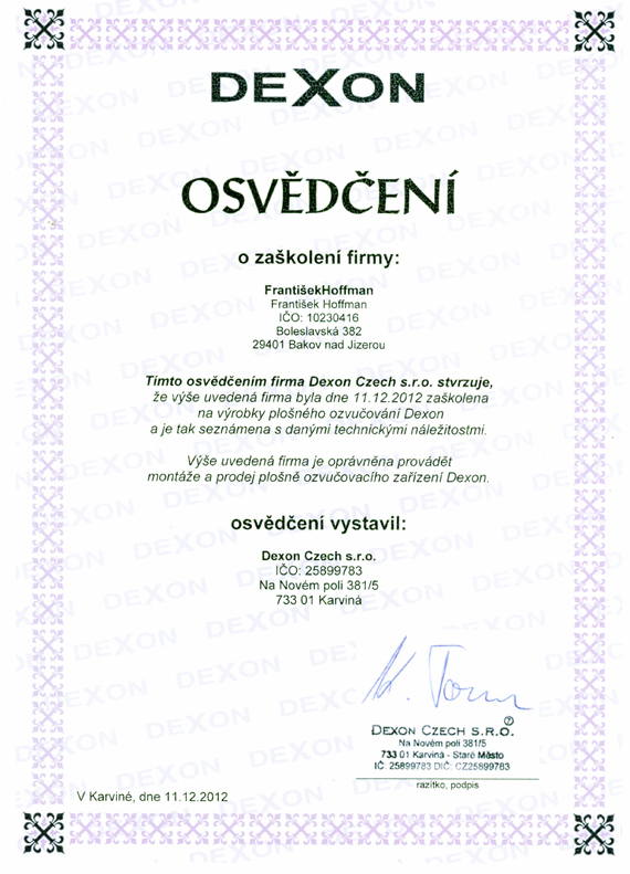 Certifikát DEXON